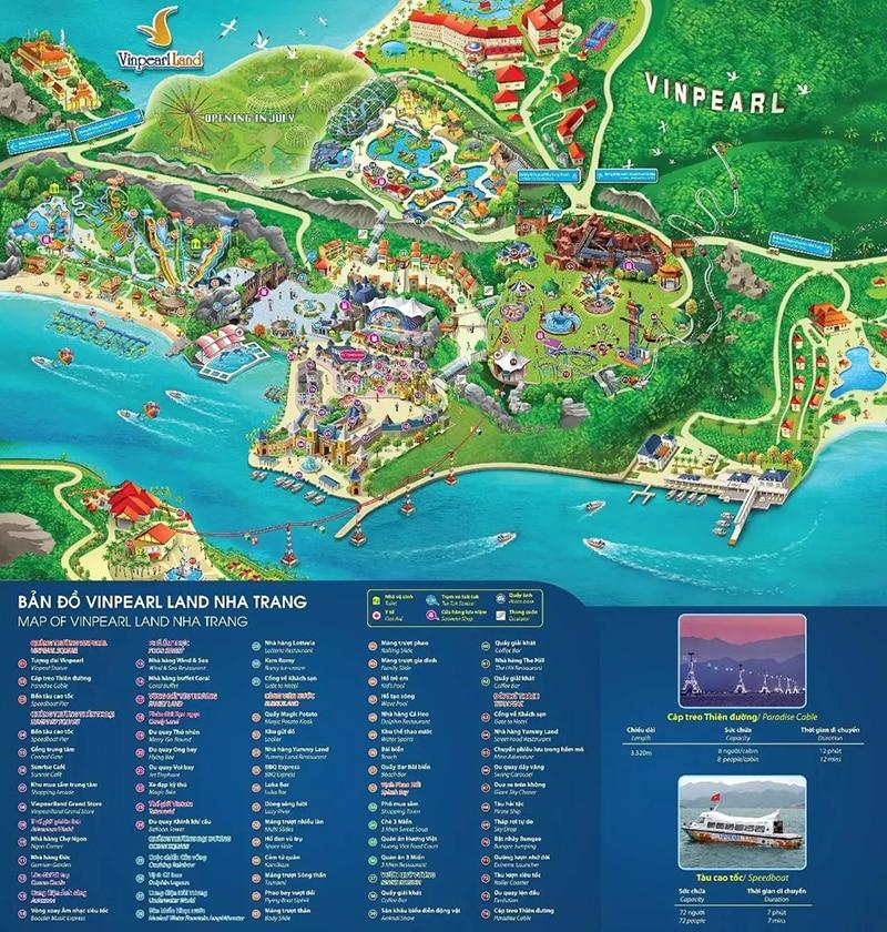 Bản đồ Vinpearl Land 2018 - Vé Vinpearl Land Nha Trang