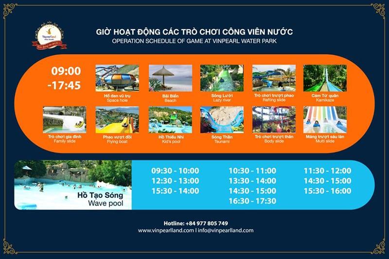 Lịch hoạt động các trò chơi tại công viên nước - Vé Vinpearl Land Nha Trang
