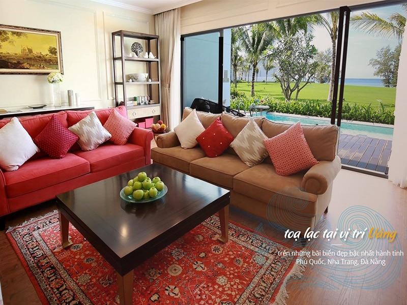 Phòng khách Vinpearl Phú Quốc Villa 2 phòng ngủ tràn ngập ánh sáng