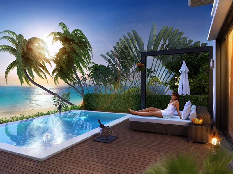 Hồ bơi riêng tuyệt đaẹp tại biệt thự Vinpearl Phú Quốc Villa 4 phòng ngủ